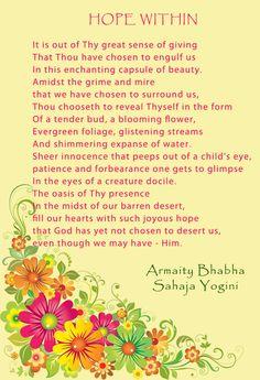 Poem by Armaity Bhabha, Sahaja yogini