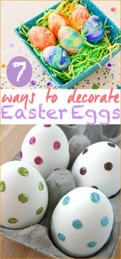 7 Ways to Decorate Easter Eggs. Creative ways to decorate Easter eggs with glitter, sharpies, chalkboard paint and more.