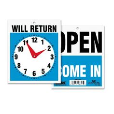 Stamp & Sign Headline Sign Double-Sided Open/Will Return Sign with Clock Hands Instagram Wedding Sign, Wet Floor Signs, Clear Plastic Sheets, Sign System, Open Signs, Window Signs, Directional Signs, Sign Display, Store Fixtures