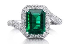Parle Jewelry Designs Brazilian emerald and diamond engagement ring