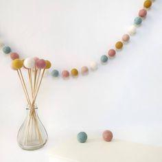 Garland; Party Garland; Felt Balls; Bloom; Playroom; Home Décor; Baby Room; Pom Pom Garland – And so to Shop