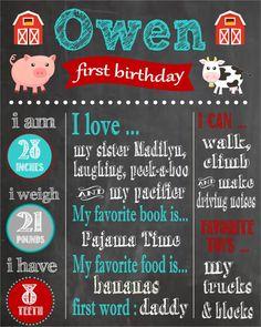 Barnyard Theme First Birthday Printable