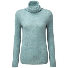 Pure Collection Lola Cashmere Polo Neck Jumper, Blue Frost (225 BAM) ❤ liked on Polyvore featuring tops, sweaters, long sweaters, polo cashmere sweater, long sleeve turtleneck, blue polo sweater and blue sweater