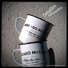 Jarritos enlozados con aplicación de marca. Duran para toda la vida!! #lovely #mug #enamel www.cartelesenlozados.com.ar