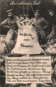WW1, Vaquois,  German postcard depicting soldiers with the  bell from the church. The village was totally destroyed. 1915.