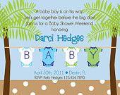 Beach Baby Shower Printed Invitations-Set of 25
