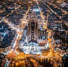 Ariel view of Sagrada Familia, Barcelona, Spain