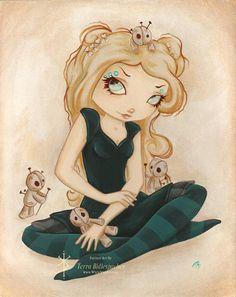 Items similar to Voodoo goth print- gothic rag doll fantasy art Voo Doo on Etsy Steampunk Fairy, Girl Skull, Zombie Girl, White Rabbits, Bad Cats, Voodoo Dolls, Lowbrow Art, Gothic Art, Fairy Art