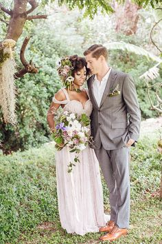 Whimsical Enchanted Forest Wedding Dream On Soft Beds Of Green | Photograph by What a Day! Photography  http://storyboardwedding.com/whimsical-enchanted-forest-wedding/ Mixed Couples, Cute Couples, Wedding Couples, Interracial Couples, Interracial Wedding, Interracial Dating Sites, Beautiful Couple, Beautiful Love, Love Couple