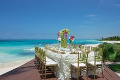 Have your reception with nothing but the the beautiful Caribbean Sea behind you. #DreamsTulum #Mexico #Destinationwedding