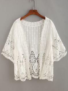 #AdoreWe #SheIn Kimonos - SheIn Crochet Insert Hollow Out Cardigan - AdoreWe.com