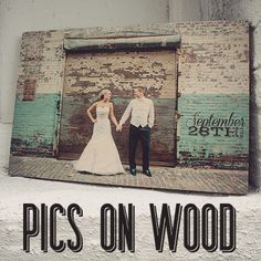 Wood Art ::Wood Wall Signs :: Wood Art :: Wooden Signs :: Wedding Photo on Wood :: Customizable :: Picture for first home together! : Great gift :: Remember your special day :: wedding gift :: to remember the big day :: rustic feel for home :: www.WordsOnWood.com