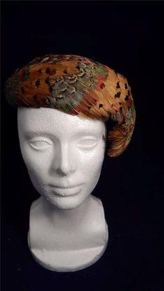 Vintage 1950's Multi-color Pheasant Feather Clamper Style Ladies Hat Chapeau