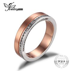 Two-Tone Genuine 925 Sterling Silver Rose Gold Band Ring Anniversary Wedding Fine Jewelry Feelcolor New Wedding Charm Gift