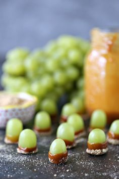 Caramel Dipped Grapes from cravingsofalunatic.com- These caramel dipped grapes are a fun snack idea for the kids. They are simple and fun to make. Perfect little treats for weekends or staycations. Bite sized little bits of pure joy! #sponsored