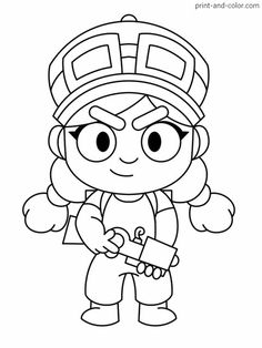 Printable Brawl Stars (Jessie) PDF Coloring Pages. High quality free printable coloring, drawing, painting pages here for boys, girls, children . Star Coloring Pages, Coloring Pages For Boys, Free Printable Coloring Pages, Coloring Sheets, Coloring Books, Free Printables, Blow Stars, Printable Pictures, Star Wallpaper