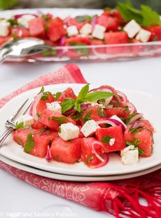 Watermelon and Feta Salad is the perfect summer salad. It's refreshing and flavourful combining sweetness, saltiness and tanginess all in one dish. #watermelonsalad #watermelon #SweetandSavouryPursuits Best Salad Recipes, Healthy Salad Recipes, Real Food Recipes, Yummy Food, Delicious Dishes, Delicious Recipes, Vegetarian Recipes, Watermelon And Feta, Watermelon Recipes