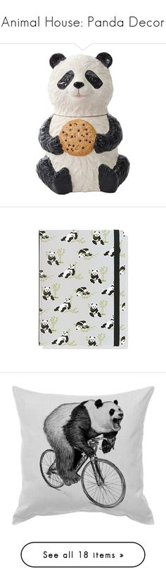 """""""Animal House: Panda Decor"""" by polyvore-editorial ❤ liked on Polyvore featuring pandadecor, home, kitchen & dining, fillers - black, kitchen, panda, black kitchen accessories, black and white kitchen accessories, notebook and filler"""