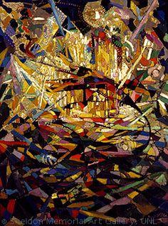 Battle of Lights, Coney Island, c.1913-14 by Joseph Stella. A cityscape.