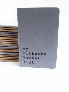 Screen printed Moleskine notebooks - Hand printed journals with words 'my ultimate bucket list' on Etsy, $8.34