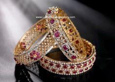 Grand Ruby bangles with cz - Latest Jewellery Designs Ruby Bangles, Ladies Bangles, Gold Bangles Design, Jewelry Design, Designer Bangles, Diamond Bracelets, Bangle Bracelets, Diamond Jewellery, Latest Jewellery