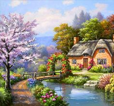 ART FINE ~ Enchanting Thatched Cottage By The Edge Of A Stream, As If It Had Appeared Straight Out Of A Dream.
