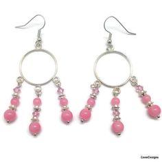 Pink Earrings Beaded Earrings Chandelier Earrings by ZaverDesigns