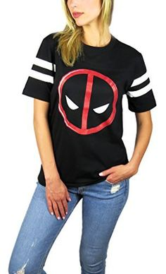 Marvel-Womens-Deadpool-Logo-Varsity-Football-Tee