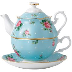 Royal Albert China Royal Albert Polka Blue Vintage Tea for One ❤ liked on Polyvore featuring home, kitchen & dining, teapots, kitchen, food and drink, furniture, random, vintage bone china, rose bone china and tea pot