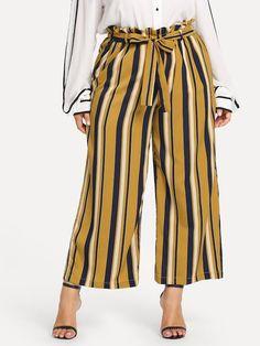Shop Plus Waist Belted Striped Ruffle Wide Leg Pants online. SHEIN offers Plus Waist Belted Striped Ruffle Wide Leg Pants & more to fit your fashionable needs. Plus Size Pants, Plus Size Dresses, Plus Size Outfits, Curvy Outfits, Wide Leg Pants, Black Pants, Plus Size Women, Plus Size Fashion, Fashion News