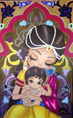 """""""Baby Krishna"""" by Jade Dragonne.  Colored by, Cristina B."""