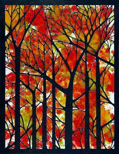 DREAM it UP ! Dreamweaver Stencils.  Black cardstock, alcohol inks on the Dreamweaver Glossy White Embossing Paste.  background tree stencil (LJ849)