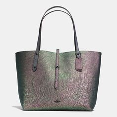 RARE Coach Market Dark Gunmetal/Hologram Leather Turnlock Shoulder Bag Tote(Last One) Coach Tote Bags, Fashion Handbags, Purses And Handbags, Coach Outlet, Hologram, Holographic, Luxury Bags, Clutch Wallet, Leather