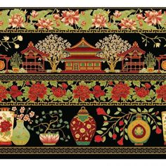 SUMMER PALACE METALLIC FROM THE TEXTILE PANTRY - 0018M-13 Image Border, Asian Fabric, Summer Palace, Ancient China, Mirror Image, Exotic, Decorative Boxes, Textiles, Quilts