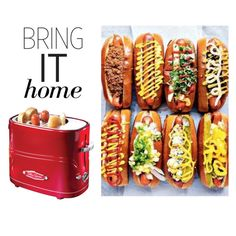 """""""Bring It Home: Pop-Up Hot Dog Toaster"""" by polyvore-editorial ❤ liked on Polyvore featuring interior, interiors, interior design, home, home decor, interior decorating, Nostalgia Electrics and bringithome"""