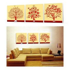3 Piece Canvas Art Hand Painted Oil Painting Spring Tree Painting Large Wall Art Group Painting Abstract Painting Modern Art Free Shipping Stretched and Ready to Hang by GalleryPainting, http://www.amazon.com/dp/B00B66B2ZO/ref=cm_sw_r_pi_dp_zUUurb1Y9SQR1