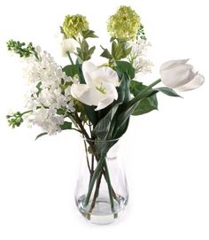 Peony 6783 Lilac with Snowball and Tulip Artificial Floral Arrangement in a Waisted Vase