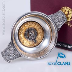 pewter 3oz quaich with Urquhart Clan Crest from ScotClans