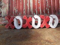 Wooden Valentine XOXOXO, Shabby Chic Red,White Hugs & Kisses,Love freestanding by DesertHeartsCo on Etsy