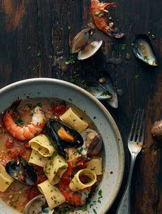 sea food with pasta dish