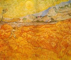 Wheat Field Behind Saint-Paul Hospital With A Reaper by Vincent Van Gogh - Famous Art - Handmade Oil Painting on Canvas — Canvas Paintings Vincent Van Gogh, Van Gogh Art, Art Van, Monet, Theo Van Gogh, Van Gogh Pinturas, Van Gogh Landscapes, Van Gogh Paintings, Wheat Fields