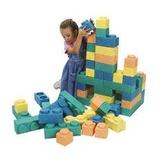 Kid being eaten by slime mold of foam Lego bricks