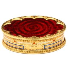 Cartier Red Enamel Gold Pill Box | From a unique collection of vintage boxes and cases at https://www.1stdibs.com/jewelry/objets-dart-vertu/boxes-cases/