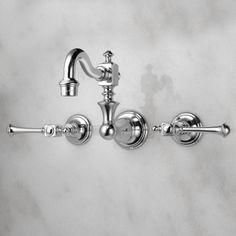 Vintage Wall-Mount Bathroom Faucet - Lever Handles - Bathroom Sink Faucets - Bathroom