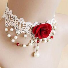 Faux Pearl Design Flower Shape Lace Choker Necklace