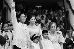 Ferdinand Marcos Waving To Crowd. Standing with his family, Ferdinand Marcos waves to the crowd after his inauguration as the President of the Philippines. Date Photographed: December Location: Manila, Luzon Island, Philippines. Ferdinand, People Power Revolution, Philippine Army, President Of The Philippines, From Rags To Riches, Filipiniana, Power To The People, Cool Photos, Interesting Photos