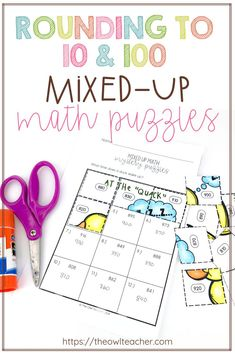 Engage your students with these cut and paste rounding to 10 and 100 mixed-up math puzzles. Students will love solving the math problems and discovering both the answer to the riddle and the picture as they glue the answer to the problem. This works well for both math centers, small groups, independent work, early finishers, and homework for any upper elementary classroom!