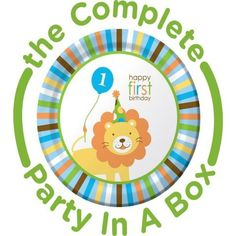 Sweet Safari 1st Birthday Blue Party in a Box