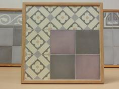 Handmade encaustic tiles, 15x15 cm format. 1550 Flower / 1521 Purple / 1512 Dark Grey. Brochure available.