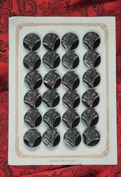 24 Black Silver Vintage Czech Glass Buttons Card_1930's floral motif